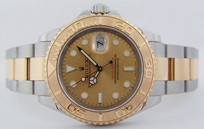 ROLEX - Men's 18kt Gold & SS YachtMaster Gold Dial 16623 - SANT BLANC