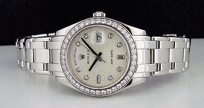 ROLEX - Men's 39mm Platinum Masterpiece Silver Jubilee Diamond -18946