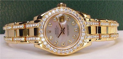 ROLEX Ladies 18kt Gold Pearlmaster Mother of Pearl Diamond Dial & Bracelet 80298