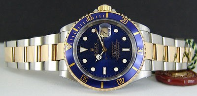 ROLEX - Mens 18kt Gold & SS 40mm SUBMARINER Blue Dial - 16613 SANT BLANC