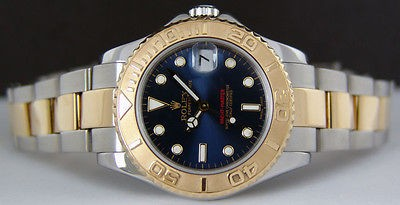 ROLEX - 18kt Gold & Stainless Mid-Size 35mm YachtMaster Blue 168623 SANT BLANC