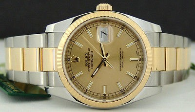 ROLEX - DateJust Mens 18kt Gold & SS CHAMPAGNE Index Dial - 116233 SANT BLANC