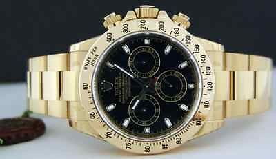 ROLEX - 40mm 18kt Gold Daytona JET BLACK Index Dial - 116528