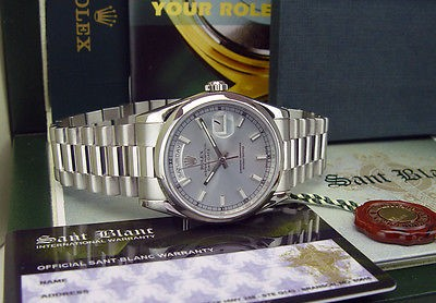 ROLEX - 36mm Platinum Day-Date President Glacier Index Model 118206 - SANT BLANC