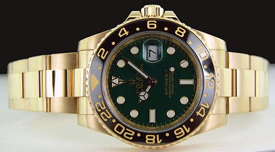 ROLEX - Mens 18kt Gold 40mm GMT-Master II Green Dial - 116718 SANT BLANC