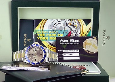 ROLEX - 18kt Gold & Stainless SUBMARINER Silver Serti Dial 16613 - SANT BLANC