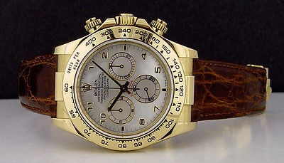 ROLEX 40mm Daytona 18kt Yellow GOLD Mother of Pearl Arabic 116518 SANT BLANC