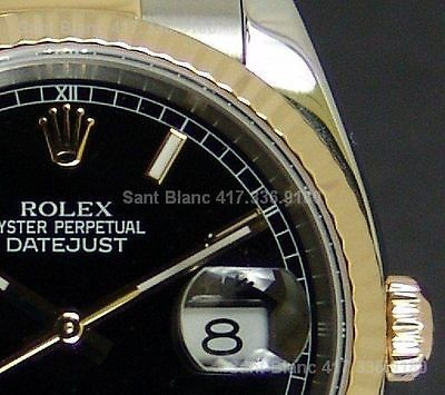 ROLEX - 36mm Men's 18kt Gold & SS DateJust Black Dial - 116233