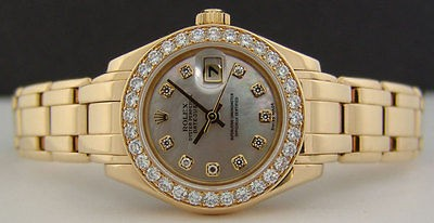 ROLEX - 29mm Gold Ladies PearlMaster Mother of Pearl Diamond Dial - SANT BLANC