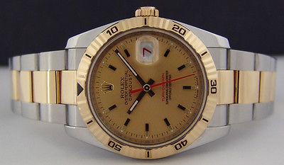 ROLEX 18kt Gold & SS TurnOGraph Champagne Dial 116263 SANT BLANC