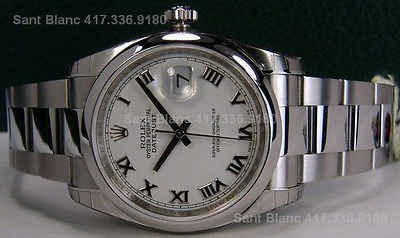 ROLEX - Mens Stainless Steel DateJust White Roman Dial - 116200