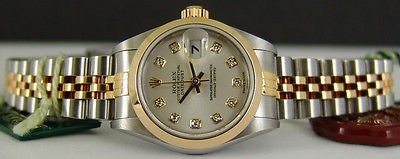 ROLEX - 18kt Gold & SS Ladies DateJust Silver DIAMOND Dial - 79163 SANT BLANC