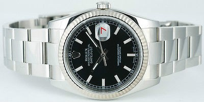 ROLEX - Mens 36mm White Gold & SS DateJust Black Index Dial - 116234 SANT BLANC
