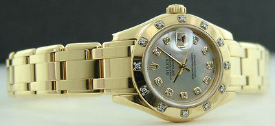 ROLEX - 29mm Ladies 18kt Yellow Gold MOP Diamond Pearlmaster 80318 SANT BLANC