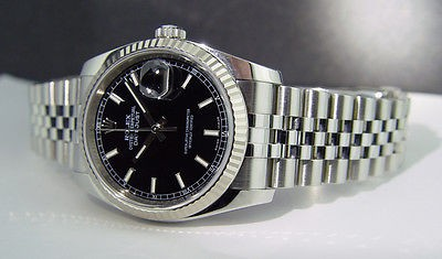 ROLEX - Mens 36mm 18kt White Gold & SS DateJust Black Index 116234 SANT BLANC