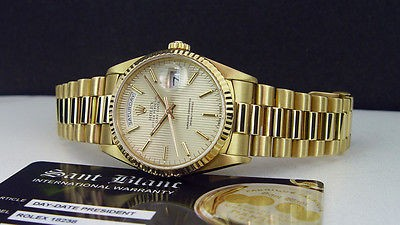 ROLEX - 36mm Men's 18kt Gold DayDate PRESIDENT Silver Tapestry 18238 SANT BLANC