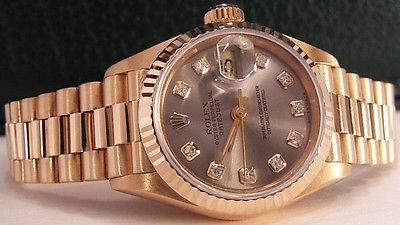 ROLEX 18kt Gold Ladies 26mm Datejust President Rhodium Diamond 69178 SANT BLANC