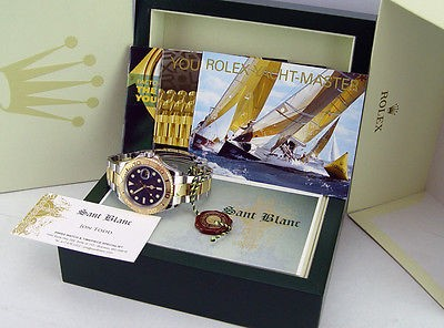 ROLEX - Men's 18kt Gold & SS 40mm YachtMaster Blue Index Dial 16623 - SANT BLANC