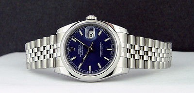 ROLEX - Mens 36mm Stainless Steel  DateJust Blue Index Dial - 116200 SANT BLANC