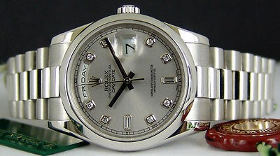 ROLEX - Platinum Mens Day-Date PRESIDENT Silver Diamond Dial - 118206