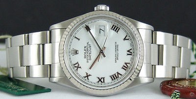 ROLEX - Mens 18kt White Gold & SS DateJust White ROMAN Dial - 16234 SANT BLANC