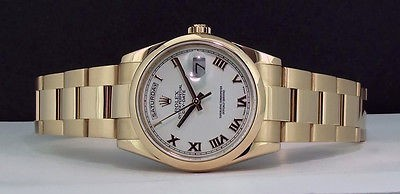 ROLEX - Mens 18kt Gold 36mm Day-Date President  White Roman - 118208 SANT BLANC