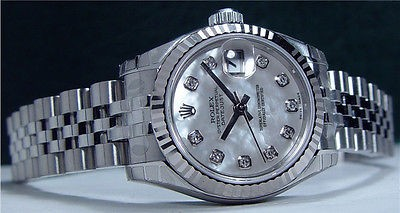 NEVER WORN Rolex Ladies White Gold - Stainless Steel Pearl Diamond DateJust 179174