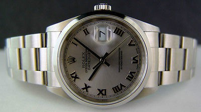 ROLEX - Mens 36mm Stainless Steel DateJust - Rhodium Roman Dial 16200