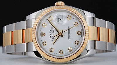 ROLEX - 18kt GOLD & Stainless Mens 36mm DateJust White Diamond 116233 SANT BLANC