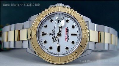 ROLEX - Ladies 18kt Gold & Stainless Steel White Yacht-Master 169623