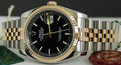 ROLEX Men's 18kt Gold & SS DateJust Black Dial 116233 SANT BLANC