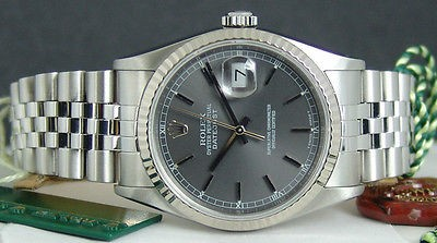 ROLEX - Mens 18kt White Gold & Stainless DateJust Grey Stick 16234 SANT BLANC