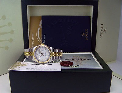 ROLEX Mens DateJust 18kt Gold Stainless White Index Dial 116233 SANT BLANC