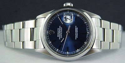 ROLEX - Mens Stainless Steel 36mm DATEJUST Blue Stick Dial - 16200
