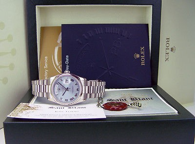 ROLEX - 36mm 18kt White Gold Day-Date President Glacier Roman 118209 SANT BLANC