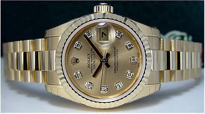 ROLEX - Ladies 18kt Gold Diamond PRESIDENT Model 179178 SANT BLANC