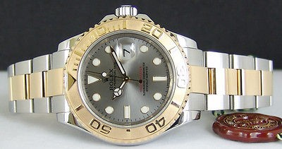 ROLEX - 40mm Mens 18kt Gold & Stainless YachtMaster SLATE Dial 16623 SANT BLANC