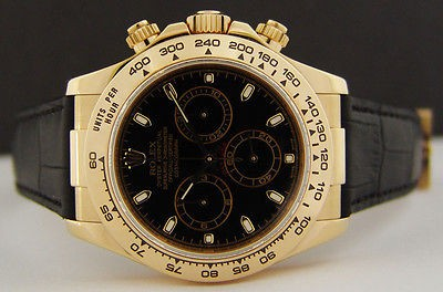 ROLEX - Men's 40mm 18kt Gold DAYTONA Black Index Dial - 116518 SANT BLANC