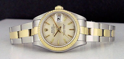ROLEX - 26mm 18kt Gold & SS Ladies DateJust White Tapestry Dial 69173 SANT BLANC