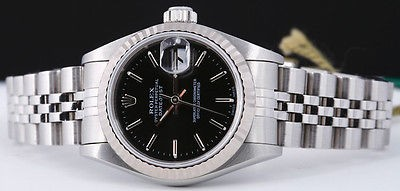 Rolex Ladies WG & SS Black Stick DateJust 79174 SANT BLANC