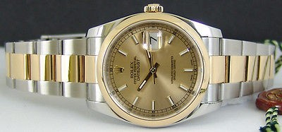 ROLEX - 18kt Gold & SS 36mm Mens DateJust Champagne Dial - 116203 SANT BLANC