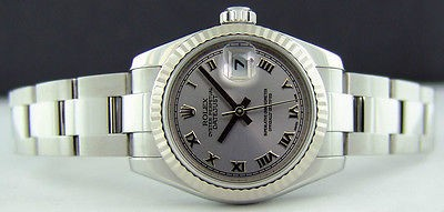 ROLEX Ladies 26mm 18kt White Gold & SS Datejust Silver Roman 179174 SANT BLANC