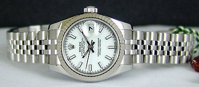 ROLEX - Ladies 18kt White Gold & SS DateJust White Index Dial  179174 SANT BLANC