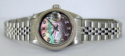 ROLEX - 26mm Ladies 18kt White Gold & Stainless Steel  DateJust Tahitian Mother of Pearl Diamond 79174