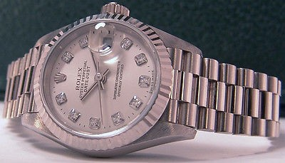 DIAMOND Ladies ROLEX 18kt White Gold President 79179 SANT BLANC