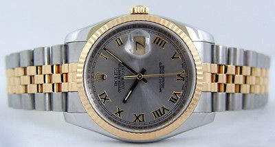 ROLEX - 18kt YG Stainless Steel Mens 36mm DateJust Slate Roman 116233 SANT BLANC