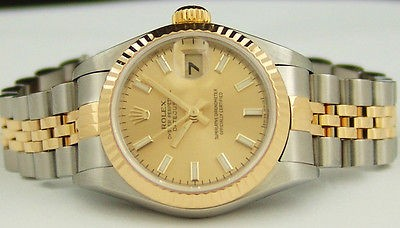ROLEX - 26mm 18kt Gold & SS Ladies DateJust Champagne Index 79173 SANT BLANC