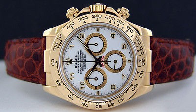 ROLEX - Mens 40mm Daytona 18kt Gold - White ARABIC Dial - 116518