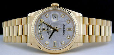 ROLEX Mens 18kt Gold Day-Date President Meteorite DIAMOND Dial 118238 SANT BLANC