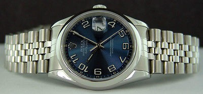 ROLEX - Mens Stainless Steel, 36mm Datejust Blue Arabic Dial - 16200 Polished Lugs